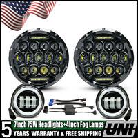 Fit 07-16 Jeep Wrangler JK TJ 7inch Round Led DRL Headlight Halo+4inch Fog Light