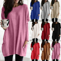 Women Plus Size Long Sleeve Pullover T-shirt Loose Baggy Daily Tunic Top Jumper