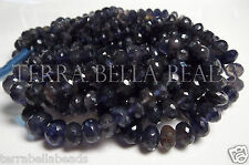 """7"""" strand blue IOLITE faceted gem stone rondelle beads 5mm - 7mm WATER SAPPHIRE"""