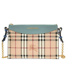 3ce06c18ff36 Burberry Haymarket Check and Leather Clutch - Eucalyptus Green   Multi