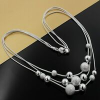 silver 925 chain beads wedding women necklace Jewelry fashion wedding noble N020