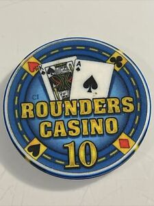 ROUNDERS CASINO $10 NCV MANUFACTURERS SAMPLE Casino Chip 3.99 Shipping