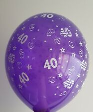 Age 40th Purple Balloons X 10 Clear purple - Free post