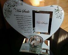 Glass Heart ~ Her Smile ~ Memorial Photo Frame Tealight Tea Light Candle Holder