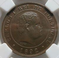 PORTUGAL Carlos I. 10 reis 1892 A NGC MS 64 BN UNC