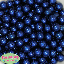 14mm Dark Royal Blue Acrylic Faux Pearl Bubblegum Beads Lot 20 pc.chunky gumball