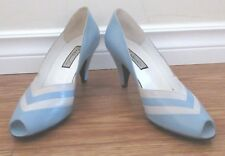 Vintage 1970's Made in Italy New 37 1/2 Blue White Leather Shoes