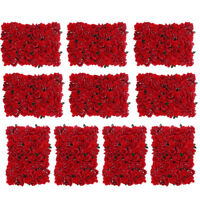 10Pcs Artificial Flower Wall Panel Hall Home Wedding Venue Decor Red