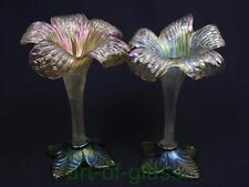 Pair of Antique Kralik Art Nouveau iridescent floriform single stem glass vases