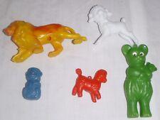 5 Vtg Plastic Toy Animals Lion Monkey Bear lambs Dime Store Toys
