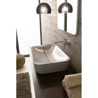 Lavandino Lavabo bagno rettangolare da appoggio Design Mizu in ceramica
