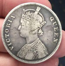 British INDIA REGINA VITTORIA UNA RUPIA ARGENTO 1862 10 DOT