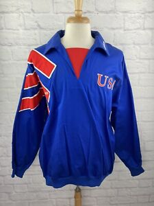 RARE Adidas Vintage 1990 Team USA World Cup Soccer 1/4 Zip Big Logo Jacket Sz L