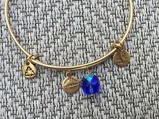 NEW RARE ALEX and ANI Cobalt Blue OONA Drop Charm BEADED BANGLE Gold BRACELET 💎