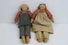 Handmade Primitive Raggedy Ann and Andy Dolls Small Folk