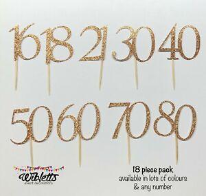 MILESTONE BIRTHDAY ROSE GOLD GLITTER 13 16 18 21 30 50 60 CUSTOM CUPCAKE TOPPERS