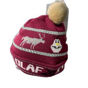 Disney Olaf Sven Beanie Burgundy Grey Ivory Winter Cap One Size Hat