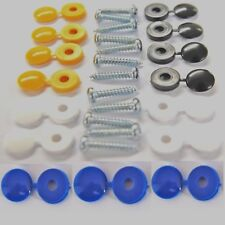 12 Pcs NUMBER PLATE FITTING FIXING SCREWS Kit  + 15 Cover Caps WYB inc GB BLUE
