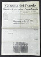 Giornale Gazzetta del Popolo N. 287 Mussolini e Litvinof a Palazzo Venezia 1933