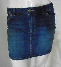 H&M Hennes & Mauritz Mini Jean Skirt Medium Blue 4 Pocket Stretch Size 8 Nice