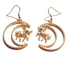 GOLD-TONE UNICORN IN CRESCENT MOON EARRINGS pendant drop dangle horse luna M4