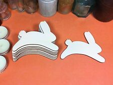 WOODEN RABBIT JUMPING  Shapes 8.3cm (x10) laser wood shape crafts easter bunny