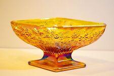 Carnival Indiana Amber Glass Diamond Shape Snack Dish
