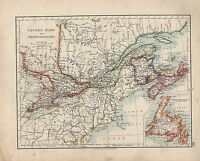 1909 MAP ~ CANADA EAST ~ NEWFOUNDLAND NOVA SCOTIA NEW BRUNSWICK
