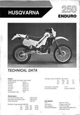 20713s Husqvarna 250 Enduro Specifications & Technical Data Sheet 1986