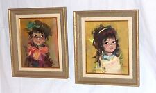 Pr VIntage Mid Century Impressionist Oil Paintings by M. Maleter Boy & Girl