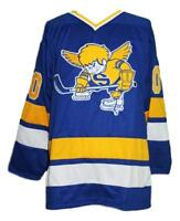 Any Name Number Size Minnesota Fighting Saints Custom Retro Hockey Jersey Blue