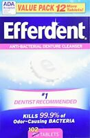 Efferdent Anti-Bacterial Denture Cleanser Tablets, 102 Count -**PACK of 2**