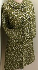 New listing Vintage 1970's 2 Pc Womans Green Pink White Jacket & Skirt Set Outfit 40