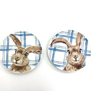 Pier 1 HENRY BUNNY Salad Lunch Plate EASTER SPRING Rabbit Blue White Plaid Set 2