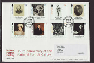 Isle of Man 2006 FDC - 150th Anniv of National Potrait Gallery - with 8 stamps