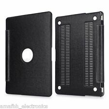 """BLACK PU Leather Hard Shell FULL Cover Case Skin For Apple Macbook Air 13.3"""""""