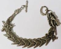 bracelet rétro dragon en relief finement travaillé couleur argent * A13