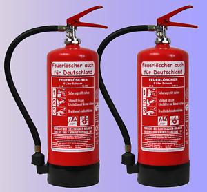 2 x 6 L Schaum Feuerlöscher DIN EN 3 GS NEU OVP Schaumlöscher Halter Standfuß AB
