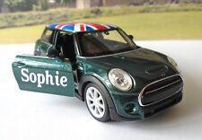 PERSONALISED NAME Gift Green BMW Mini Union Jack Toy Model Car Birthday Present
