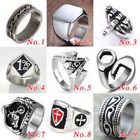 Mens Stainless Steel Knight Templar Biker Motorcycle rings Punk Skull Ring Xmas