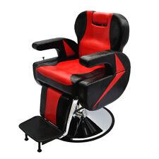 Big Black Red Barber Chair Salon Recline Hairdressing Tattoo Threading Shaving