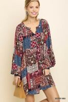 umgee dress long sleeve patchwork mix print boho mini tunic  s m l