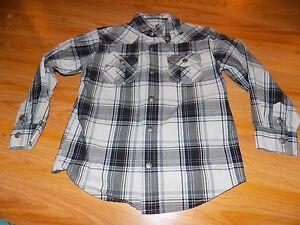 Boy's Size 5 Gymboree Gray Grey Black Blue Plaid Checked L/S Snap Up Shirt Top