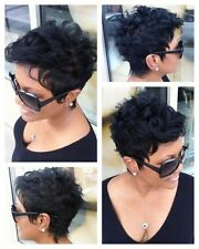 Women Chic Short Black Color Wavy Hairstyle Synthetic Hair Wigs For Black Women