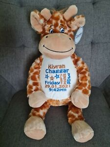 Personalised Embroidered giraffe cuddly toy baby Gift Birthday