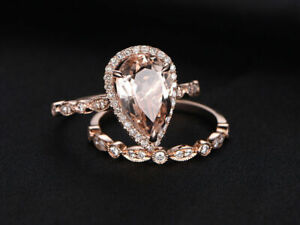 3Ct Pear Cut Peach Morganite Diamond Bridal Engagement Ring 14K Rose Gold Finish