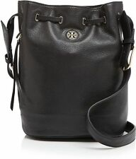 SUMMER SALE Tory Burch Auth Brody Leather Black Bucket Bag Messenger-$450
