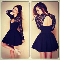 Fashion Womens Floral Long Sleeve Lace Backless Evening Party Mini Prom Dress US