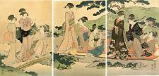 "Lovely Meiji era UTAMARO Japanese woodblock triptych:  ""PICNIC BY A STREAM"""