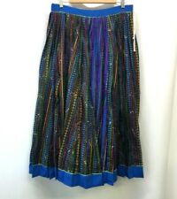 Vtg Boho Bohemian Pleated Skirt Multi-Colored Women's O/S Indian African Hippie